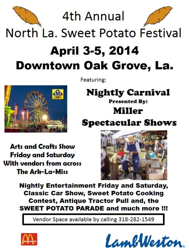 Sweet Potato Festival and Spring Blue Grass April 3-5 in Oak Grove, La.
